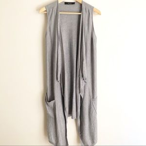 Decjuba S M 10 12 Grey Knit Waterfall Drape Vest